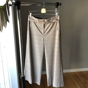 Ann Taylor High Waist Wide Leg Tan Plaid Pants